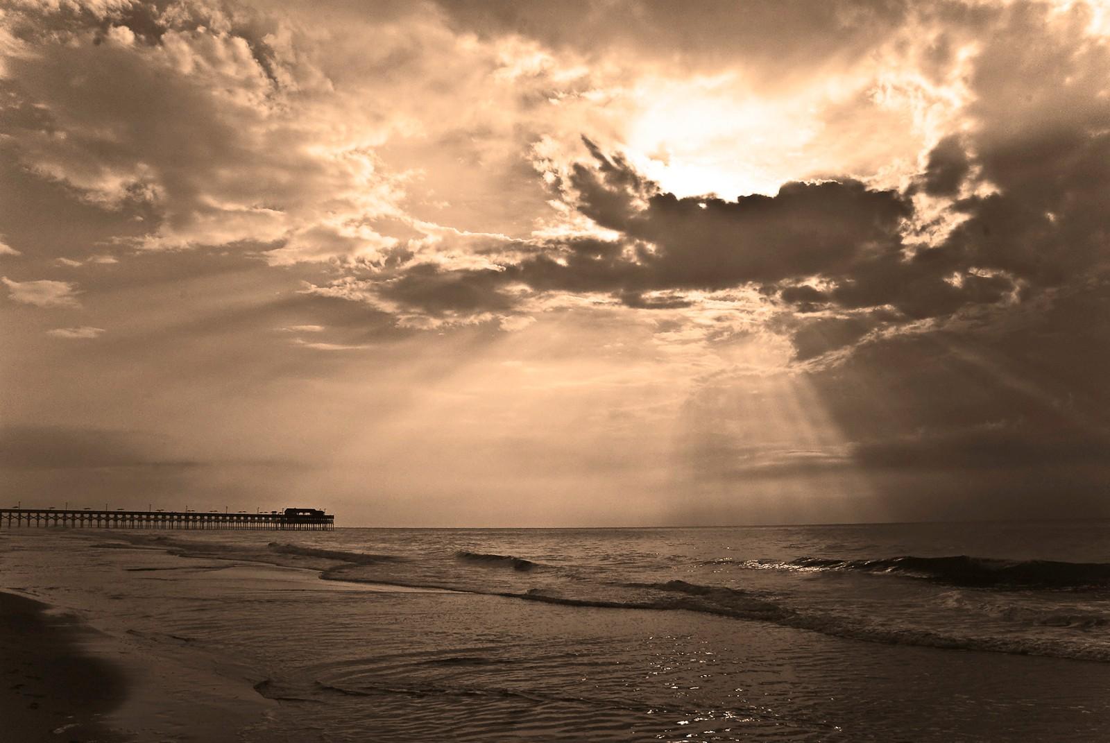 Sunrise over Garden City Pier BW Beach SC Hi Cont Sepia ...